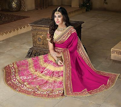 Latest Indian Bollywood Pink Sari Pakistani Designer Wedding Embroidered saree