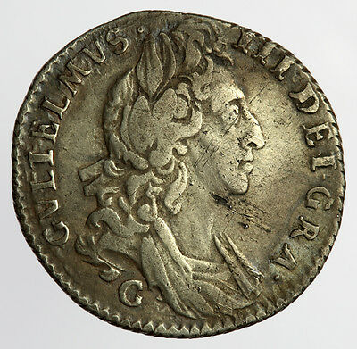 William III Sixpence 1697 Chester Mint - Later Harp, Small Crowns