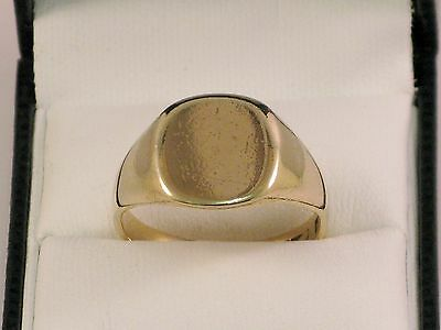 9Ct Gold Ring, Hallmarked Gents Solid Gold Signet Ring, Size V