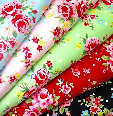 Vintage Floral Fabric 100% Cotton Fat Quarters Metres- Craft Dressmaking Bunting