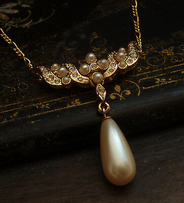 Vintage Seed Pearl & Crystal Pearl Drop Gold Pendant Necklace