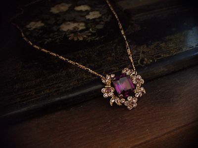 Vintage Jewellery Necklace with Amethyst Crystal & Crystal Flowers, Figaro Chain