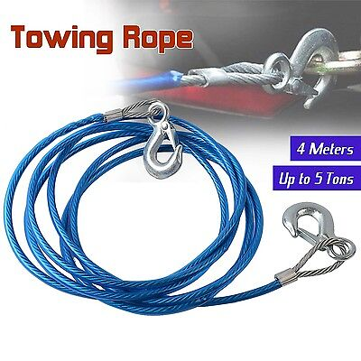 5 Tons Trailer Car Tow Rope Snatch Strap Heavy Duty Steel Towing&Hauling Wire 4M