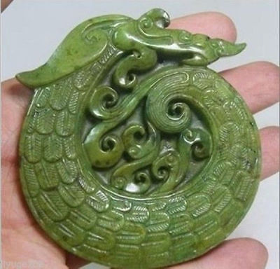 Chinese Old Handwork Green Jade Carved Dragon Pendant 999