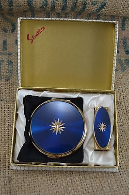 VINTAGE 1950 STRATTON blue enamel powder compact + lipview lipstick holder boxed