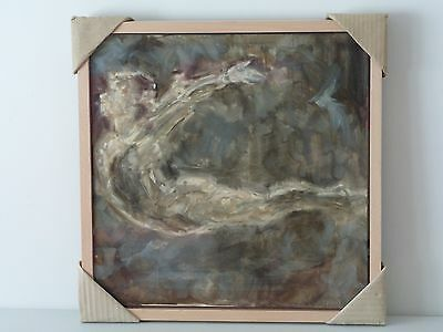 Framed contemporary impressionist oil painting / oil sketch of gymnast flying.