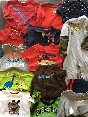 Lot Of Boys Clothes 18-24 Months 14 Pieces Carters Children's Place Jumping Bean