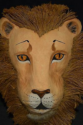 "Vintage Paper Mache Lion Wall Hanging Mask Large 17"" X 13.5"" RARE WOW Home Decor"