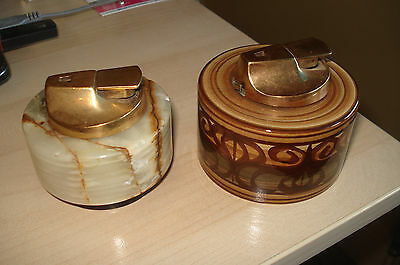 Two Vintage Cigarette Table Lighters Jersey Pottery & Marble
