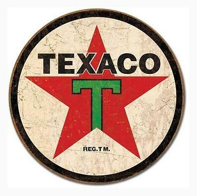 Texaco 1936 Logo Reproduction Round Distressed Retro Vintage Tin Sign, New