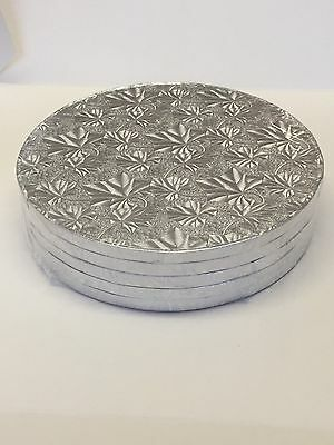 BULK 5 PACK of Cake Boards Round Silver Drum Board 12mm Thick Quality Boards
