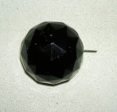 BLACK GLASS Mourning BROOCH PIN Large Faceted Dome Long Pin Stem