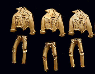 Vintage Brass Stamping Ornate Jeans and Jackets /  Set of 14 pcs. Total