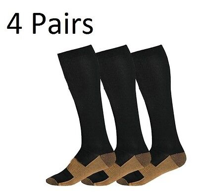 4 Pairs Copper Compression Socks 20-30mmHg Graduated Support Men's Women's S-XXL