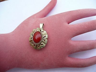 Superb Antique Solid 14Ct Gold And Red Camelian Solitare Large Pendant 4.9 Grams