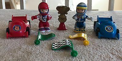 8pc Lot Fisher-Price World of Little People Spin and Crash Raceway Flag Trophy