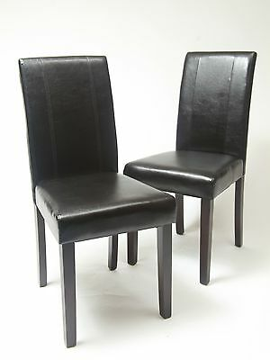 Set of 2 pcs Faux Leather Dining chair wood frame & legs foam, PU upholstered