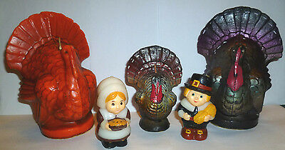 5 Vintage Gurley Suni Turkey Candles Pilgrims