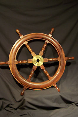 """Authentic Antique Solid Wood & BRASS Ship's Helm Steering Wheel ~ 28.5"""" Round"""