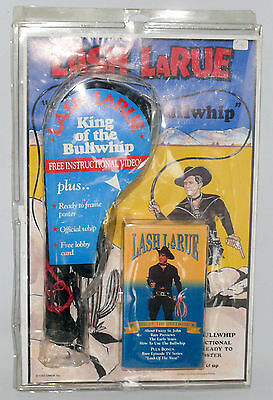 LASH LaRUE King of the Bullwhip WHIP Set - with VHS Vintage Western Toy