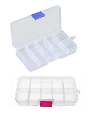 Small Storage Box Adjustable Shelves Organizer Plastic Case Screw Beads Holder