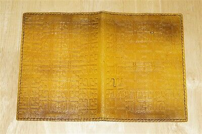 Vintage  Leather Book Holder Cover Relief Image Riga Latvia USSR