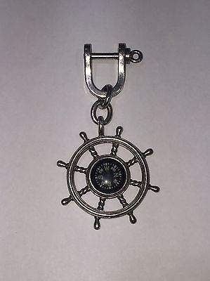 Tiffany & Co Sterling Silver Key Ring Chain Keychain Ship Wheel Compass Shackle