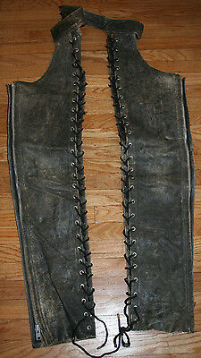 Vintage LA Roxx Lace Up Leather Chaps Motorcycle Harley Distressed Black