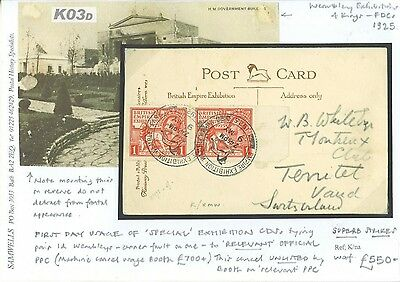 K03d 1925	Empire Exhibition CDS 1d Pair FDC Wembley PPC/Switzerland