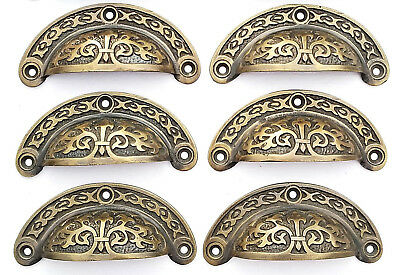 "6 Antique vtg. Style Victorian Brass Apothecary Bin Pulls Handles 3-7/16""w.  #A5"