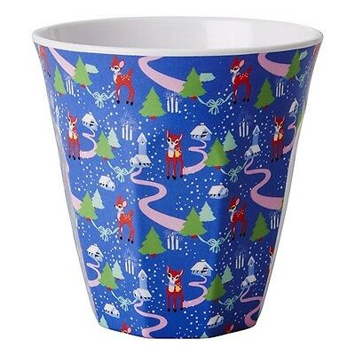 REDUCED! RICE Melamine Medium Cup - Blue Christmas Print - Combined Postage!
