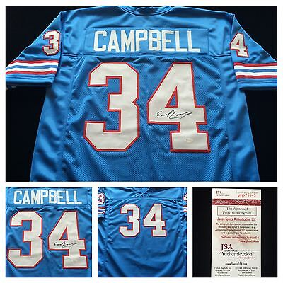Earl Campbell Houston Oilers Signed Autograph Blue Football Jersey JSA COA