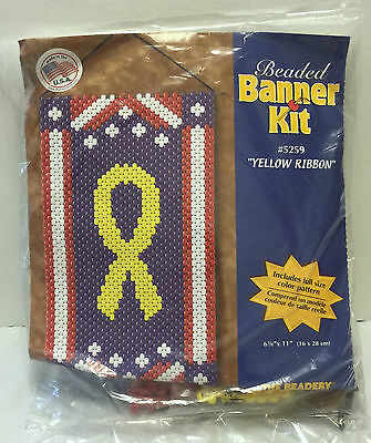 New Beaded Banner Kit #5259 Yellow Ribbon Patriotic USA Troops Military 4th July