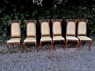 Set Of 6 Art Nouveau Style Dining Chairs For Restoratioin