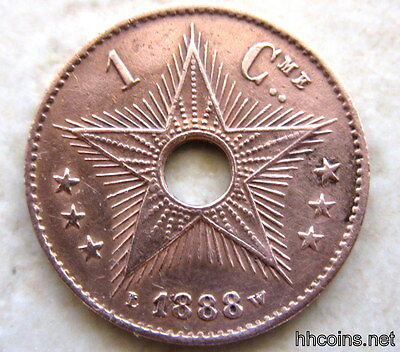 Congo Free State Leopold Ii 1888 Centime