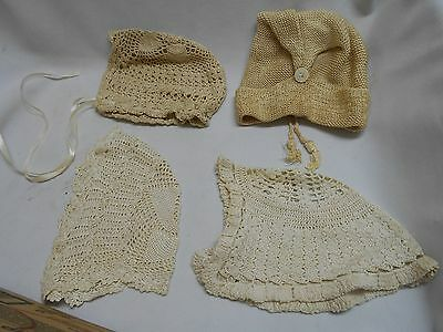 4 Antique vintage crochet crocheted Baby or child's bonnets hats