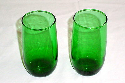 Pair ANCHOR HOCKING FOREST GREEN Roly Poly 13 Oz Iced Tea Tumblers 5""