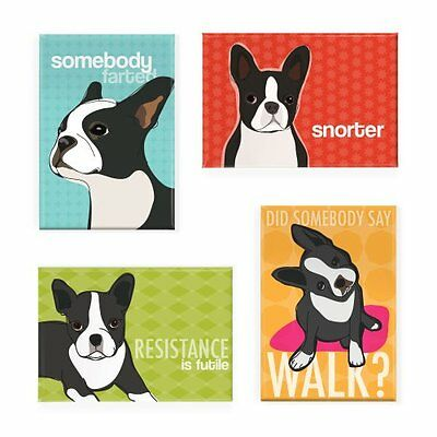 Pop Doggie Boston Terrier Refrigerator Magnets with Funny Sayings Set of 4, New
