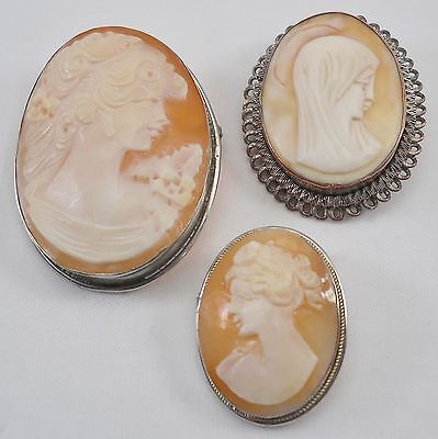 Lot of 3 vintage carved cameo brooches, 800 grade silver mounts, 20.7g