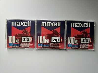 Maxell Zip 100 MB DOS Formatted Lot (3)