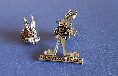 Warner Bros Looney Tunes Bugs Bunny Cloisonne closure Pin lot (2) Home Video