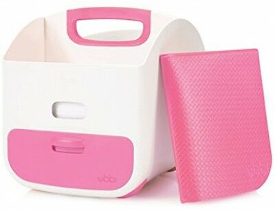 Nappy And Wipes Storage Caddy With Changing Mat (Pink)
