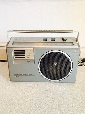 Vintage JC Penney Portable AM/FM Radio Receiver With 4 Channel 8 Track Player
