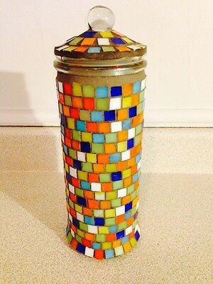 "Vintage Hand Crafted Tile Work 10.5"" Glass Canister"