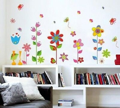 DecoBay Colourful Flowers And Butterflies Premium Wall Stickers - Removable And