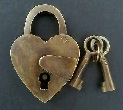"VTG. MED.Love Valentine Heart PADLOCK w SKELETON Keys Brass Antique 3"" tall #L3"