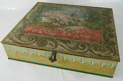 Antique Sunshine Biscuit Tin Box Container Vtg Metal Litho Capitol Building Old