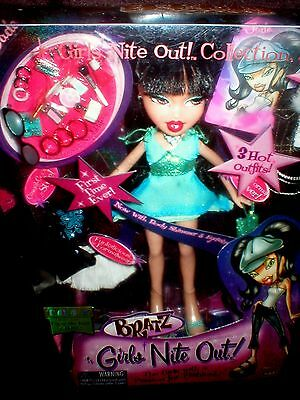 New BRATZ JADE GIRLS NITE OUT REAL EYE LASHES BODY GLITTER DOLL SUPER RARE