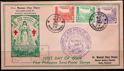 Philippines 1942 Japan Occupation RED CROSS Surtax Sc# NB1-3 FDC