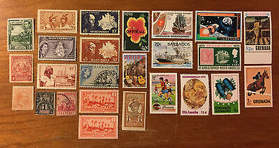 Caribbean Postage Stamps - 25 Assorted Stamps From Various Nations
